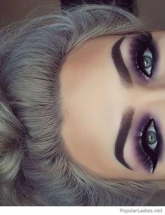 Grey hair with purple eye makeup