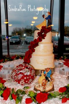 Wanted to share some of my wedding photos for your Beauty and the Beast Wedding inspiration :)   LeAnn & James - Beauty and the Beast wedding 12/13/2014  Photography by SindraRae Photography in Groesbeck, Texas  Cake by Truly Scrumptious Pastries Home Bakery in Groesbeck, Texas.