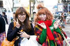 "Smiley Harajuku Girls w/ Bon Bijou ""HAPPY"" Hair Clip & Platform Converse"