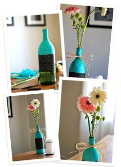 Diy ribbon-wrapped vase wine bottle crafts - bowknot, flowers, table decoration - iLove the color teal! by evipermejo