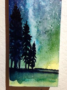 Galaxy Night Sky Painting, Star Painting, Watercolor Constellation, Northern Lights Art by ElissaSueWatercolors on Etsy