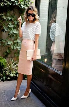 Office Outfit | casual summer work outfit idea a pastel pencil skirt and heels inspired by hello 66