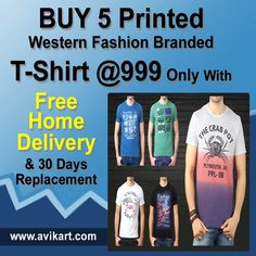 """Pack of 5 Western Fashion Printed T-Shirts ►MATERIAL & CARE 100% cotton ►Machine wash cold SIZE & FIT The model (height 6' and shoulders 18"""") is wearing a size M"""