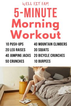 Wowza!! These are the best morning workouts I've seen. They are just so simple to follow and perfect for busy Moms on the go like me! You don't need any equipment and you can workout from home in any… More Easy Morning Workout, 1 Hour Workout, Quick Workout At Home, Good Mornings Exercise, Morning Workout Routine, Workout For Beginners, Morning Workouts, Good Home Workouts, Morning Workout Motivation
