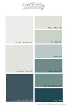 Transitional coastal paint colors that are versatile and work well together.