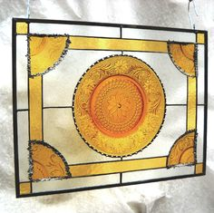 Stained Glass Window with Vintage Sandwich Glass