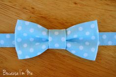 Boys Light Blue Dot Bow Tie pre-tied and adjustable by becauseimme