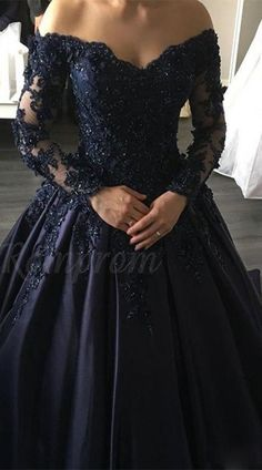 Navy Blue Lace Appliques Long Sleeves Ball Gowns Wedding Dress with Off sold by muttie dresses. Shop more products from muttie dresses on Storenvy, the home of independent small businesses all over the world.