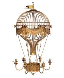 A French gilt-metal Montgolfier chandelier, inspired by the balloon of 1783. Image via Christie's.