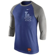 Men's Los Angeles Dodgers Nike Heathered Royal/Gray Cooperstown Collection Tri-Blend 3/4-Sleeve Raglan T-Shirt