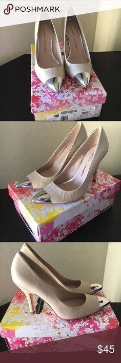 Chinese Laundry Pointed Toe Leather Nude Heels Leather nude pump shoes, silver toe. Size 8.5. Never worn them, come with original box. Chinese Laundry Shoes Heels