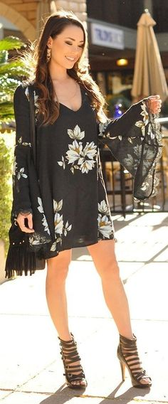 Bell Sleeve Black Floral Little Dress, Fringe Bag, Multi Buckle Strap Sandals |Boho Chic |Hapa Time