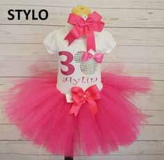 minnie mouse birthday outfit,  birthday outfit,birthday girl outfit, minnie mouse birthday tutu,hot pink tutu,girl birthday outfit by Stylotutuboutique on Etsy