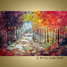 Original Modern Abstract Landscape Oil Painting FALL MORNING Fantasy Trees Flowers Impasto Artwork by Luiza Vizoli. $321.00, via Etsy.