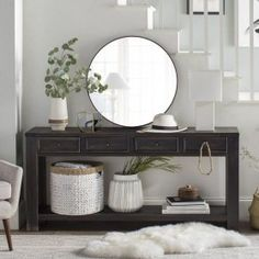 online shopping for Calvin 64 Console Table Beachcrest Home from top store. See new offer for Calvin 64 Console Table Beachcrest Home Entryway Decor, Entryway Tables, Black Entryway Table, Foyer Table Decor, Narrow Entryway, Table Lamp, Living Room Furniture, Living Room Decor, Decoration Entree