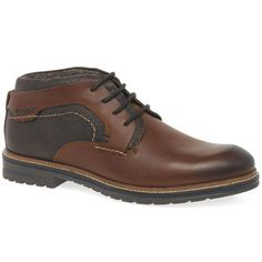 Textured panels on Bugatti Anders mens casual lace up boots are contrasted by smooth brown leather, decorated with abundant stitching and securely laced up.   They sit on cleated outer soles for grip, and feature padded collars for support and comfort.