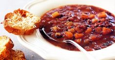 This hearty lentil soup will warm you up this winter. Serve it with the cheesy croutes to make it even more special.