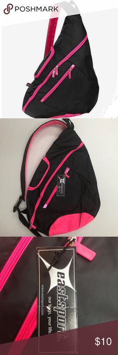 NWT Trapezoid Backpack New with tags. 3 zipper compartments. 🔴The Eastsport Cross Shoulder Sling Bag is perfect for organization. With its multiple zip pockets and mesh side pocket made for storage, it makes grabbing essentials easy and simple. This bag is made of 100% polyester and can be easily wiped clean🔴 Eastsport Bags Backpacks