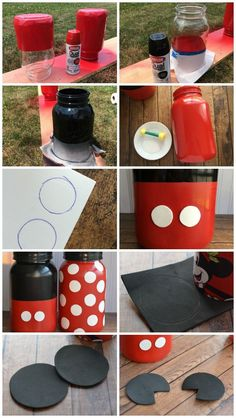 How to make Mickey and Minnie Mouse mason jars. The instructions for this project are here, in these pictures. I think they're pretty easy to follow. Enjoy!