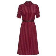 Altuzarra Kieran striped crepe de Chine shirtdress (34.016.995 VND) ❤ liked on Polyvore featuring dresses, altuzarra, day dresses, navy stripe, stripe dress, red knee length dress, navy blue dress, navy striped dress and red short sleeve dress