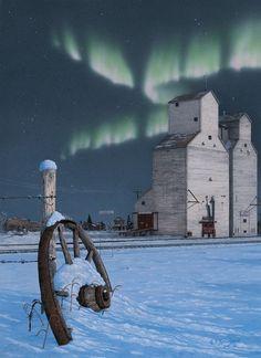 "Northern lights on the prairie, by the grain elevators. "" DAYS GONE BY "" Glen Scrimshaw. @Deb Keller via Patsy Aubuchon"