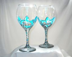 Turquoise Dragonfly Wine Glasses Hand Painted by SkySpiritStudios