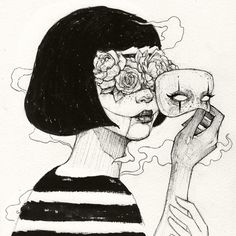 Mask Art Print by mikekoubou Dark Art Drawings, Pencil Art Drawings, Art Drawings Sketches, Cool Drawings, Hipster Drawings, Tattoo Drawings, Arte Copic, Arte Obscura, Arte Sketchbook