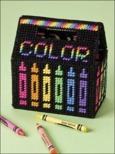 Plastic Canvas - Patterns for Children & Babies - Gift Patterns - Crayon Box by wanda