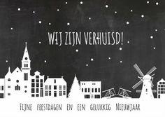 Bijzondere getekende kerst- verhuiskaart van Holland, verkrijgbaar bij #kaartje2go voor € 0,99