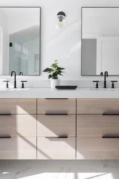 Lakeside Development - Bathrooms   Lakeside Development Wood Bathroom Cabinets, Bathroom Countertops, Bathroom Renos, Wood Cabinets, Bathroom Interior, Modern Bathroom, Master Bathroom, Light Grey Bathrooms, Modern Vanity
