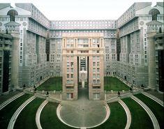 "Postmodern Neoclassical Paris Suburban Housing Estate as Film Set for ""The Hunger Games: Mockingjay"""