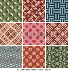 Seamless Japanese Traditional Red Pattern Set Stock Vector - Illustration of ancient, oriental: 15474060 Red Pattern, Pattern Art, Pattern Paper, Abstract Pattern, Pattern Design, Japanese Textiles, Japanese Patterns, Japanese Fabric, Japanese Design