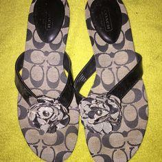 Coach sandals Black signature C pattern Coach Shoes Sandals