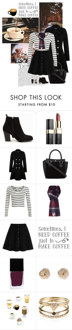 """""""Coffee, Autumn & Striped Sweaters..."""" by allweknowisfalling ❤ liked on Polyvore featuring Balmain, Nly Shoes, Bobbi Brown Cosmetics, Miss Selfridge, Dickins & Jones, WithChic, Witchery, Tiffany & Co. and Accessorize"""