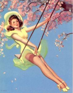 El colúmpio   Art Frahm Pin-Up artist   Ladies in distress #Pin-Ups #Ladies #Distress #deFharo #Vintage #Posters #Girls