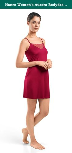 Hanro Women's Aurora Bodydress, Cranberry, X-Small. Seductive and sensual, the aurora body dress is tailored from a flowing, silky smooth fabric with a beautiful sheen and is adorned with a triangular leavers lace insert trimmed with satin at the neckline. Featuring fully adjustable straps with metal hardware, this body dress offers a figure-hugging silhouette making it perfect to wear as a slip or as sleepwear.