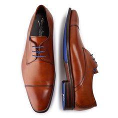 14370/00 - Floris van Bommel cognac leather men's lace-up shoe