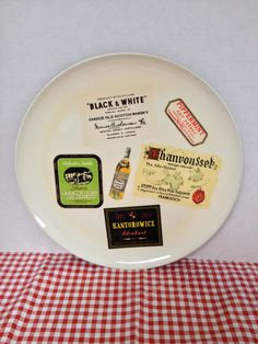 Vintage Vikings white plastic tray with booze alcohol labels whiskey by rummagechicboutique on Etsy