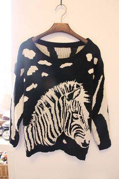 Sweet Style Scoop Neck Horse Pattern Long Sleeve Knitting Sweater