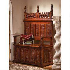 York Monastery Solid Hardwood Gothic Bench - Classic Benches and Sofas - Benches and Sofas - Furniture - Design Toscano