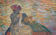 Tajan - Henri Lebasque (1865-1937) Elégante brodant sur une barque en compagnie de son chien. Modern Art June 28, 2016