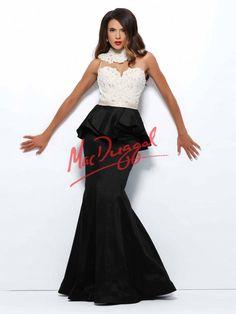Black and White Dress   Red Carpet   Peplum   Pearl Dress   Mac Duggal 76811R
