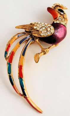 Vintage Yellow Gold Plated Enamel Rhinestone Brooch Pin Bird of Paradise from Antik Avenue on Ruby Lane Sold!
