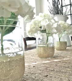 Glittered Mason Jars Wedding Decor 3 by PrettywithSprinkles