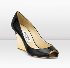 Jimmy Choo - Baxen - 113baxenbpyl - Black Patent Leather Wedge Peep Toe Pumps - Baxen is part of the popular Cruise collection. These ultra feminine patent leather peep toe pumps come in black or nude with classy metallic wedge heels. Heel measures approximately 85mm/3.3 inches in height.