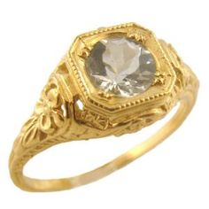 14k Yellow Gold Antique Style .60ct Aquamarine Forget-Me-Not Flower Filigree Ring