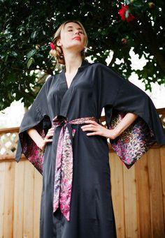 "The ""Haiku"". One custom made long Haiku robe in faux silk crepe with pockets Long kimono robe with pockets Bohemian kimono, steam punk robe, black silk robe. Festival chic, festival style kimono."