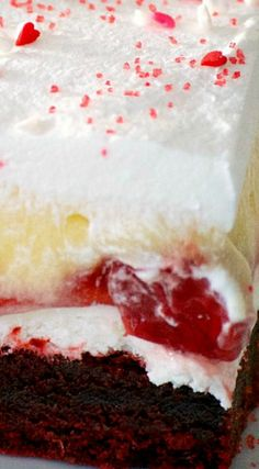 Red Velvet Cherry Dream Bars ~ With their red velvet cookie crust, sweet cheese layer, cherry pie filling, vanilla pudding and whipped topping... Enjoy them all year 'round.