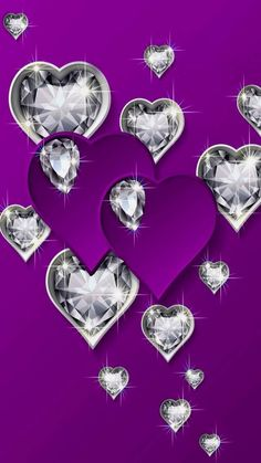 Purple and diamond hearts Purple Love, All Things Purple, Purple Rain, Shades Of Purple, Pink Purple, Purple Hearts, Purple Hues, Purple Stuff, Purple Wallpaper
