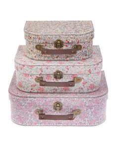 Take a look at this Set of Three Vintage Floral Suitcases by Sass and Belle on #zulily today!